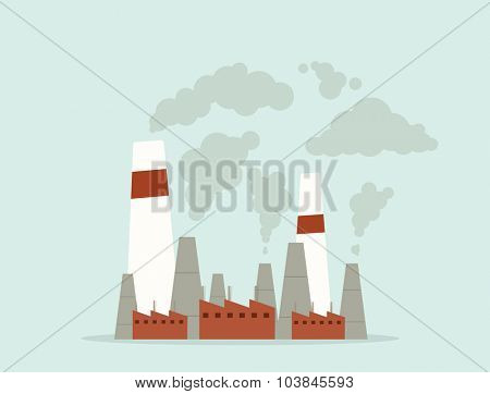 cartoon factory. air pollution