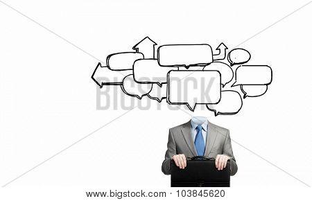 Unrecognizable businessman with speech bubble for head