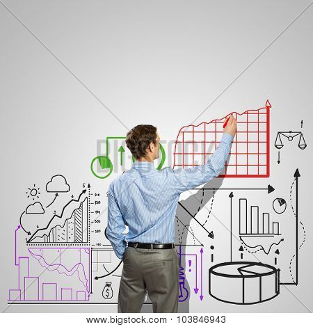 Back view of businessman drawing infographs on wall