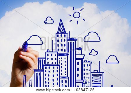 Hand drawing with marker sketches of construction project on sky background