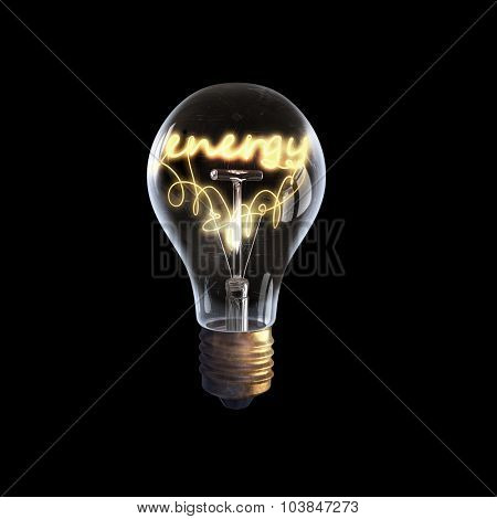 Glowing glass light bulb with energy word inside
