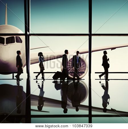 Silhouettes of Business People Airport Passenger Concept