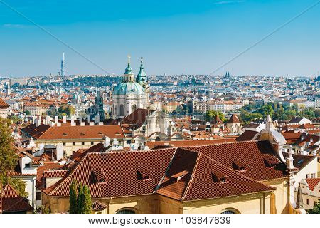 Aerial view of cityscape and St. Nicholas Church in Prague, Czec