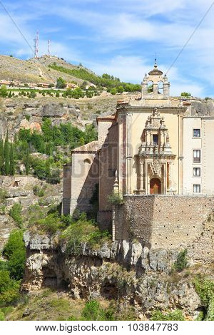 Church on the cliff in Cuenca, Spain.