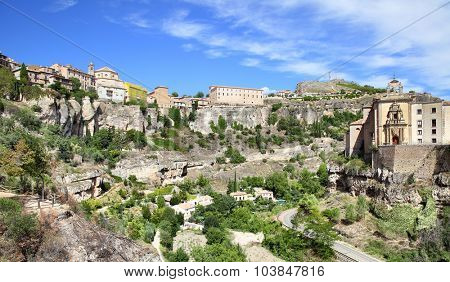 Panoramic view of Cuenca, Castilla La Mancha, Spain.