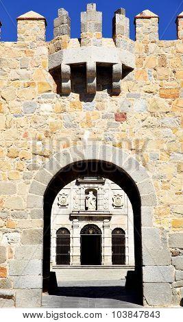 Gate in city walls of Avila, Spain (Puerta de la Santa)