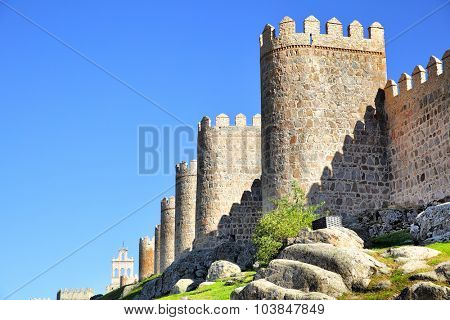 Perspective of medieval city walls of Avila, Spain