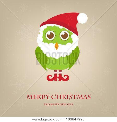 Christmas owl in Santa hat and beard. Vector holiday illustration. Christmas card