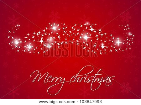 Santa's mustache from snowflakes and lights on red background. Vector illustration. Christmas card design. Christmas poster, banner, card or web design