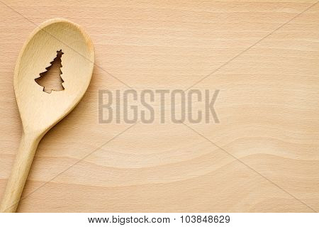 Christmas tree in spoon abstract food background concept
