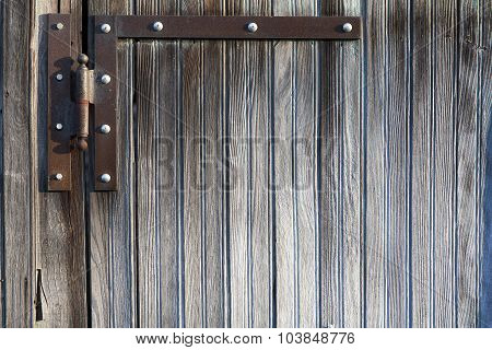 Hinge On Weathered Wooden Plank Door Background