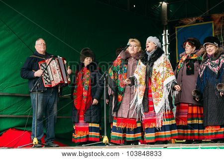 Unknown women group in national clothes at Celebration of Maslen