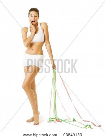 Slim Woman And Measuring Tapes, Slimming Girl In White Underwear
