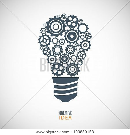 Bulb Icon From Gears (cogs) On The Gray Background. Stock Vector Illustration Eps10