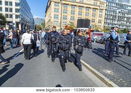 Police Protects The Event German Unity Day In Frankfurt