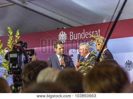 Volker Bouffier And Stanislaw Tillich In Interview At The 25Tg Anniversary Of German Unity In Frankf