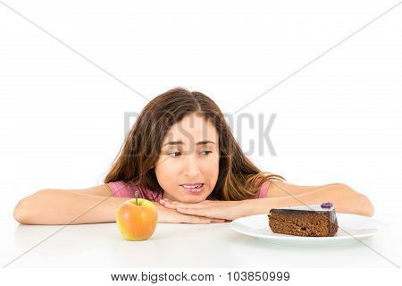 Diet Woman Yearning For A Piece Of Cake