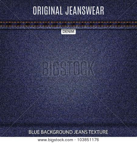 Eans Blue Texture Denim Background. Stock Vector Illustration Eps10