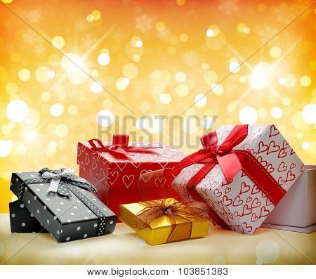 Group Decorative Gift Boxes Golden Bokeh Front View