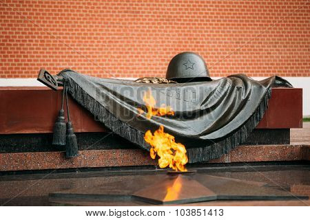 Eternal Flame in Moscow at the Tomb of the Unknown Soldier in th