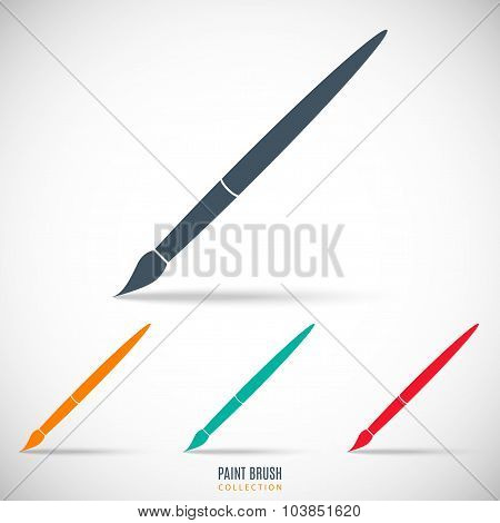 Set Paint Brush Colored Icon Isolated On Gray Background. Stock Vector Illustration Eps10