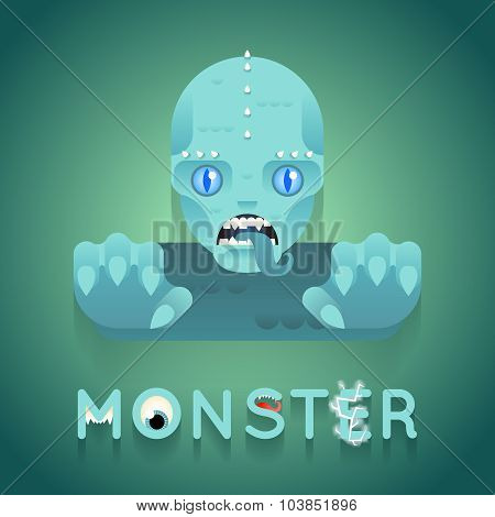 Halloween Party Sea Monster Role Character Bust Icon Stylish Background Flat Design Greeting Card Te
