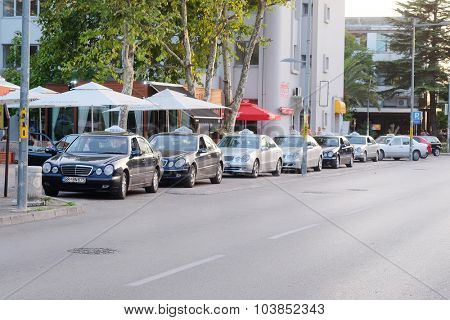 Bar, Montenegro, September, 18, 2015: Taxi cars on the parking in Bar, Montenegro