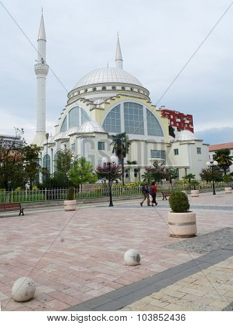 Shkoder, Albania, September, 27, 2015: The pedestrian street in the center of Shkoder - the city located at border with Montenegro