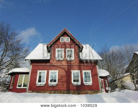 Red Villa In Snow