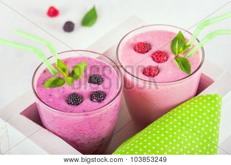Raspberry And Blackberry Dairy Smoothies With Fresh Berries