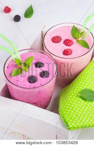 Raspberry And Blackberry Dairy Smoothies