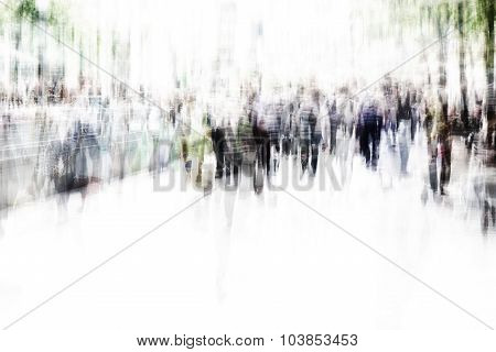blurred city people walking