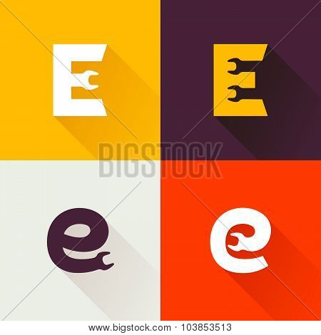 E Letter With Wrench Logo Set.