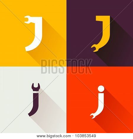 J Letter With Wrench Logo Set.