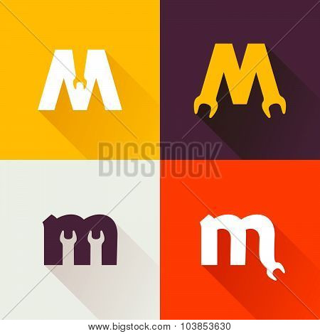 M Letter With Wrench Logo Set.