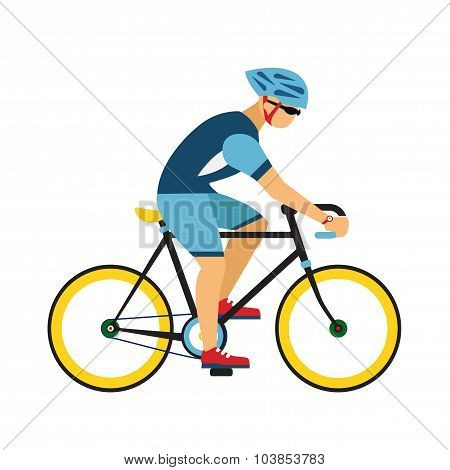 Man with helmet ride by road bicycle. Cycling sport vector flat illustration.