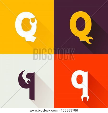 Q Letter With Wrench Logo Set.