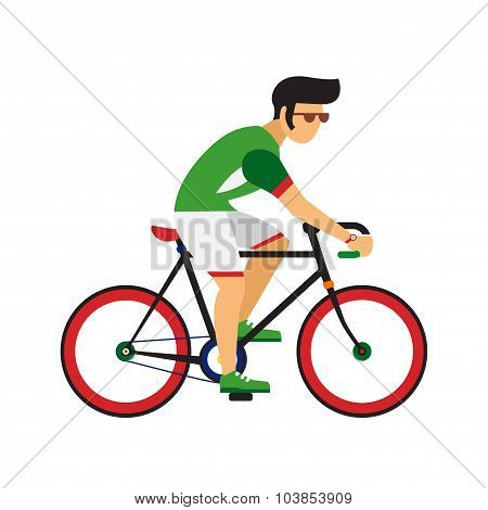 Man ride by road bicycle. Cycling sport vector flat illustration.