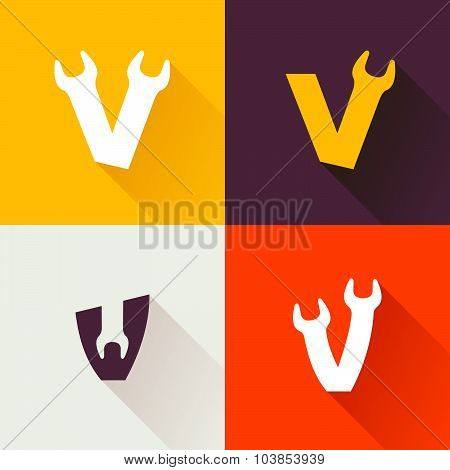 V Letter With Wrench Logo Set.