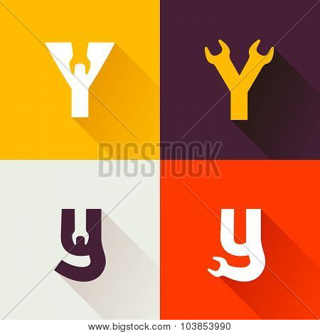 Y Letter With Wrench Logo Set.