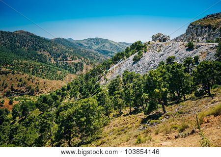 Panoramic View Of Mountains Landscape in Malaga, Andalusia, Spai