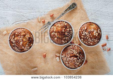 Homemade Banana Peanut Muffins In Ceramic Baking Form