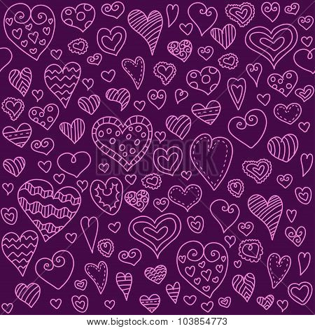 Love hearts seamless pattern. Doodle heart. Romantic background. Vector illustration