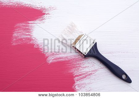 Covering Pink Paint With A Coat Of White Emulsion