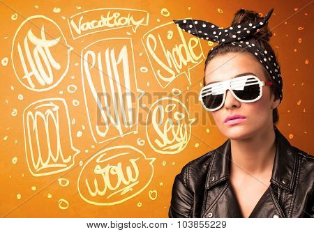 Cool teenager with summer sun glasses and vacation typography concept