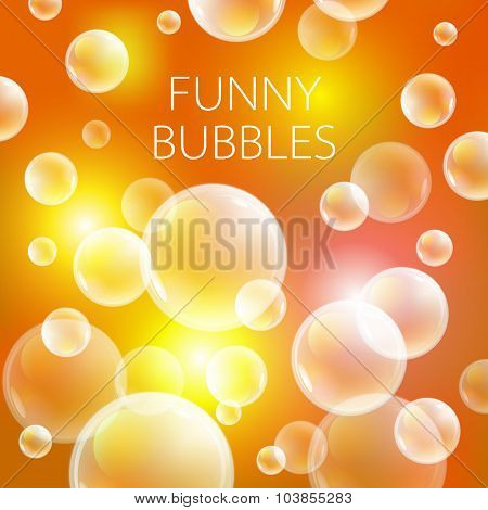Abstract Soap Bubbles Vector Background. Transparent Circle, Sphere Ball, Orange Pattern Illustratio
