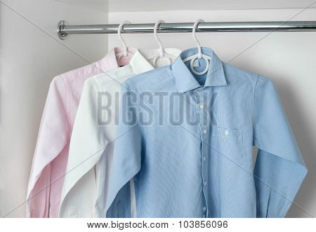 White, Blue And Pink Clean Ironed Men's Shirts