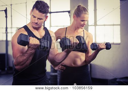 Serious people lifting dumbbell at the gym