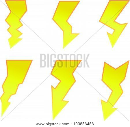 Vector Symbol Set Of Thunder Lighting Icons