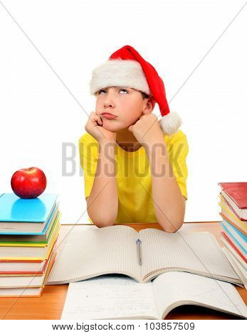 Schoolboy In Santa Hat